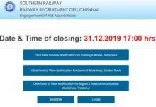 RRB Recuritment 2019 SOuthern Railways