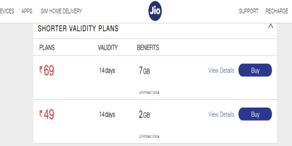 Jio phone new prepaid recharge plans